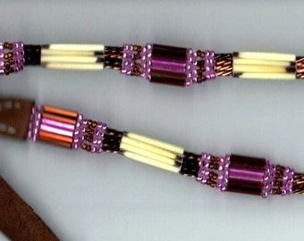 Porcupine quill Hatband Pink and Brown.