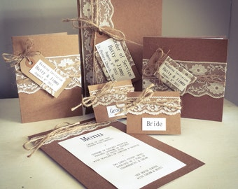 Vintage Lace & Rattan Collection, Wedding Invitation (Day)