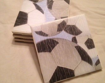Set Of 4 Decorative Soccer Tile Coasters - Wine, Beer, Drink Coasters - Housewarming Gift - Sports Decor