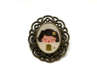 Hand Painted Frame Brooch - REDUCED -