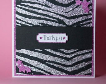 Sparkly Animal Print Pink and Black Handmade Thankyou Card