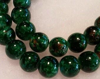 Vibrant Rainforest Green 10mm Mottled Glass Round Beads. 40 per Strand.
