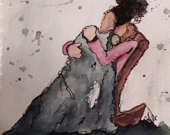 Snuggles Limited Edition Signed Watercolor Print, Matted