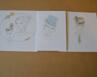 Steampunk  Ladies Cards pack of 3
