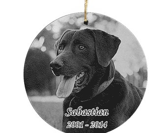Glass Photo Engraved Ornament