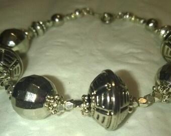 Women's Silver Bangle Bauble Bracelet