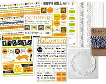 Halloween Planner Kit - 6 Assorted Stickers, 20 Doilies and Twine!