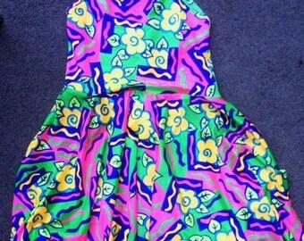 90s floral halter dress