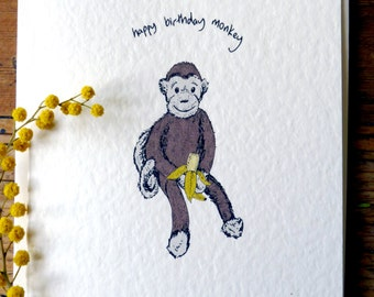 Happy birthday monkey card,boys birthday card