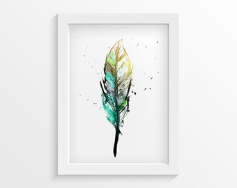 Feather Art Print, Bedroom Wall Art, Modern Bedroom Decor, Watercolor Print, Feather Wall Art, Watercolor Art Decor, Home Decor
