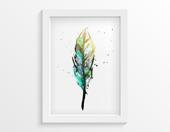 Feather art print bedroom wall art modern bedroom decor for Artwork for wall decoration