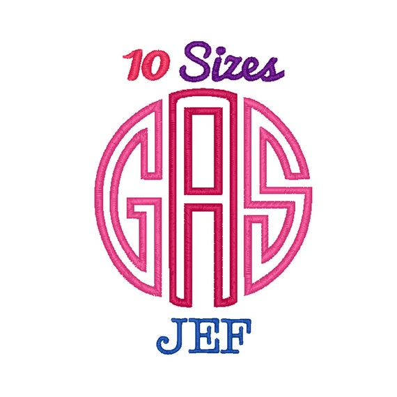 Circle monogram applique font machine embroidery fonts jef