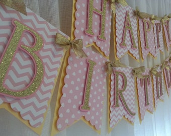 Pink and Gold Happy Birthday Banner, Birthday Banner, Pink and Gold Birthday, Pink and Gold, Pink and Gold First Birthday, Pink and Gold