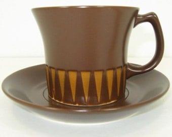 MCM Ben Seibel Forum International Chocolate Brown Cup Saucer NOS Paper Label