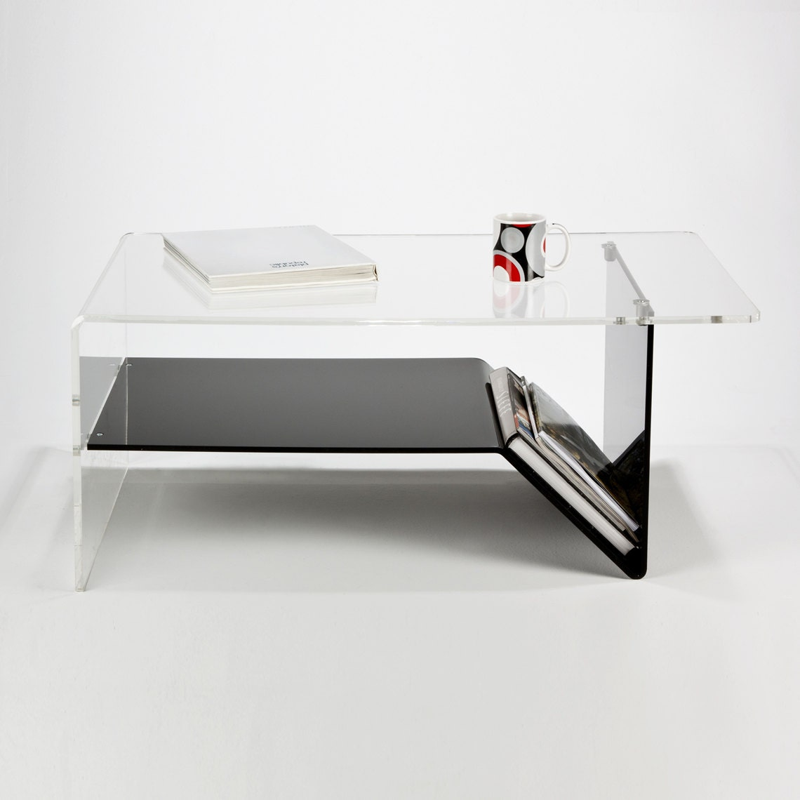 Perspex Acrylic Modern Coffee Table With Shelf Magazine