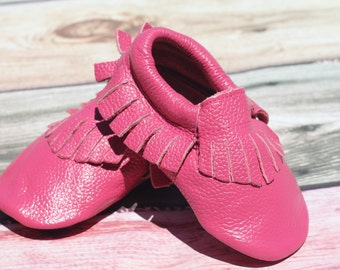 Watermelon Pink Leather Baby and Toddler Moccasin