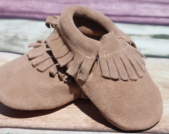 Tan Suede Baby and Toddler Moccasin