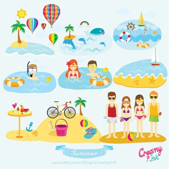 Summer Holiday Digital Vector Clip Art Beach Vacation