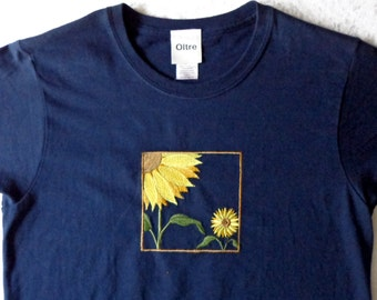 Sunflower  Womens Embroidered Short Sleeved Navy Cotton T Shirt
