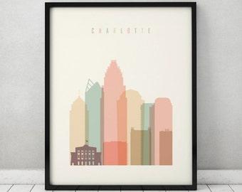 Charlotte print, Poster, Wall art, Charlotte skyline, North Carolina, City prints, Typography art, Home Decor, Travel art, ArtPrintsVicky