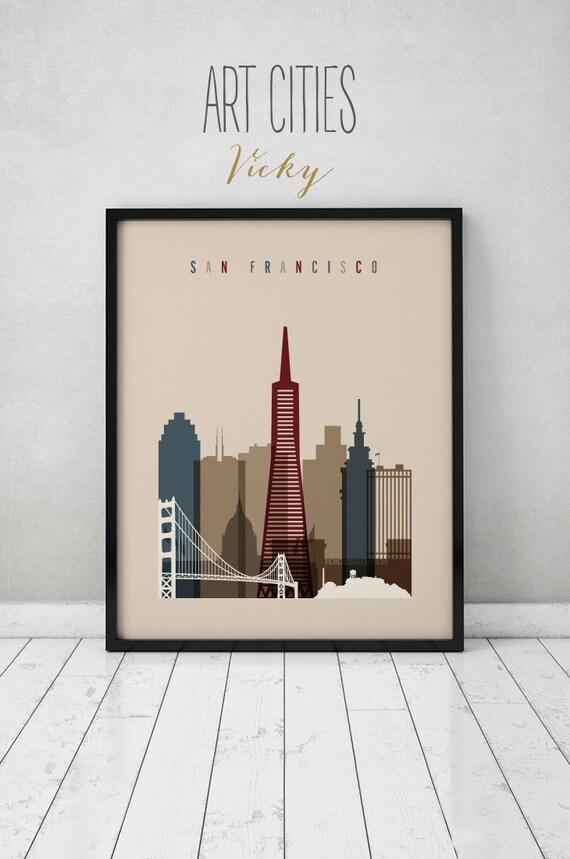 san francisco print poster wall art san francisco skyline. Black Bedroom Furniture Sets. Home Design Ideas