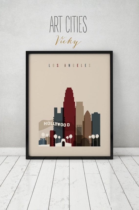 Los angeles print poster wall art los angeles california for Home decor los angeles