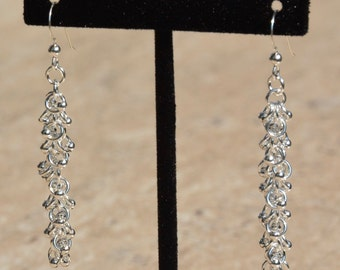 Sterling Silver Chainmaille Earrings Handcrafted. Shaggy Loops Weave with sterling Silver Beads Jewelry Chain Mail Chainmail woman gift