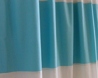 Horizontal Striped Curtain Panels Aqua Blue and Cream Pair Lined