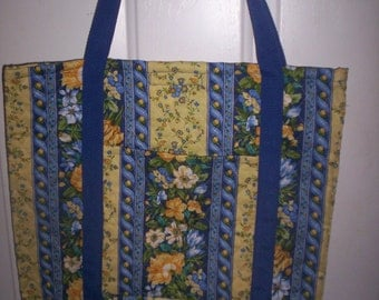 Blue/Yellow/white/green Flower Print Tote! Quilted Fabric!Washable!