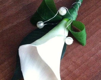 Real to touch cala lily buttonholes