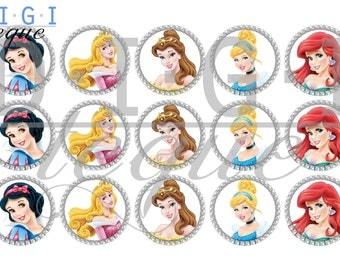 Disney Princesses I - 1 inch Bottle Cap Images 4x6 Printable Bottlecap Collage INSTANT DOWNLOAD
