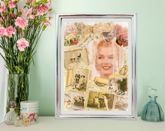 Marilyn Monroe, mixed media, decoration, black and white, sepia, vintage photography