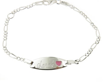 925 Sterling Silver Figaro Link Childrens ID Pink Heart Bracelet Personalized