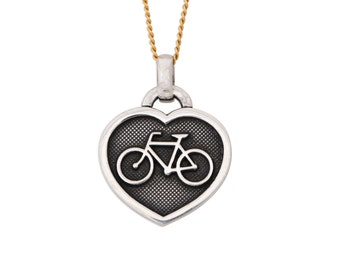 Bike Love silver pendant