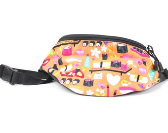 Fanny pack Mandarin Orange Sushi fabric  - Hip Waist Bag for travel, sport, and recreation with 2-zippers