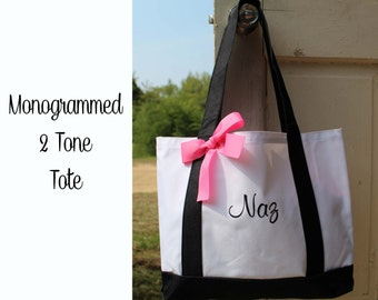 Set of 19 Personalized Monogrammed Bridesmaid Gift Tote 2-tone Monogrammed Tote, Bridesmaids Tote, Personalized Tote