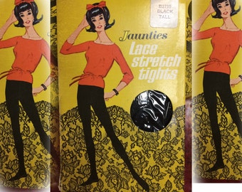"""Mod Vintage 1960's, OSS Ladies """"Jaunties"""" Beige LACE Stretch TIGHTS, New in Box, size Tall"""