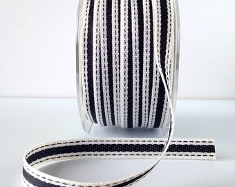 """Striped Ribbon 3/8"""" Wide - Black with Ivory Border - Woven Fabric Ribbon with Stitched Edge 5 Yards"""