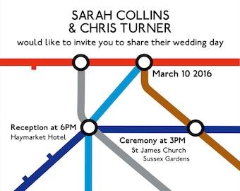 London Underground wedding invitation graphic template