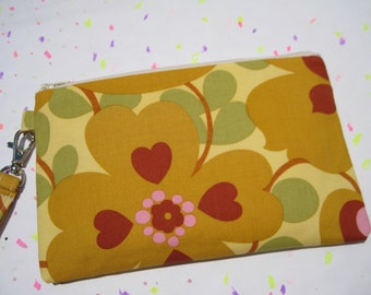 Wedding Clutch 2 pockets,medium,yellow,flowers wristlet, cotton, bridesmaid  - Morning glory mustard