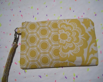 SALE, Wedding clutch,gift pouch 2 pockets bridesmaid clutch, medium,yellow wristlet, - Opal/blossoms dandelion