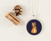 Bunny Rabbit Necklace Embroidered Felt - Circle pendant - Woodland animal - Silver Plated - Navy Blue