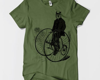 Gentleman Owl on a Bicycle Men's or Unisex T-shirt S M L XL 2XL 3XL