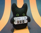 Halloween Stuffed Monster -- ADMIT ONE CAT -- Plush Black Cat Something -- Weird Plush by Mint Conspiracy