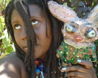 Papier Mache Woodland Rabbit Faerie Creature Art Doll Ferris Darkmoon