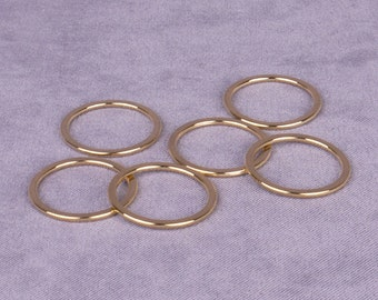 10 Pairs Gold Metal Alloy Strap Rings - 3/4 inch (M019GO-10)