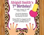 Leopard Print Spa Birthday Party Invite Nailpolish Manicure Sleepover Makeover Animal Print Invitation DIY Printable 5x7 Digital JPG (500)