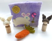 Felted bunny book woodland play set Waldorf inspired Quiet book ready to ship