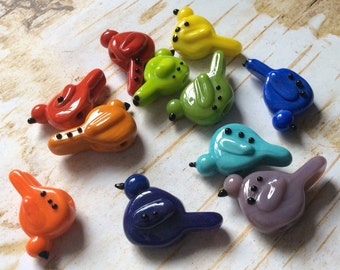 Lampwork BIRD Beads ... You Choose Your Favorite Color