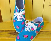 Electric Neon Watermelon Hand Painted Women's Sneakers Shoes